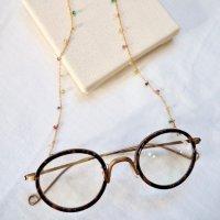 【 Glasses Chain 】 マルチカラー天然石のめがねチェーン